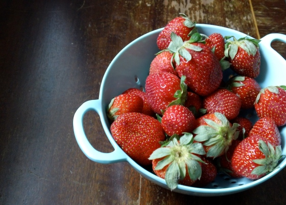 Gorgeous organic strawberries from Maui, a rare find at the markets on Oahu