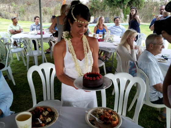 the bride with her cake